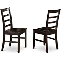 East West Furniture PFC-CAP-W Chairs Wood Seat with Ladder Back, Set of 2