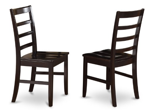 (East West Furniture PFC-CAP-W Chairs Wood Seat with Ladder Back, Set of 2)