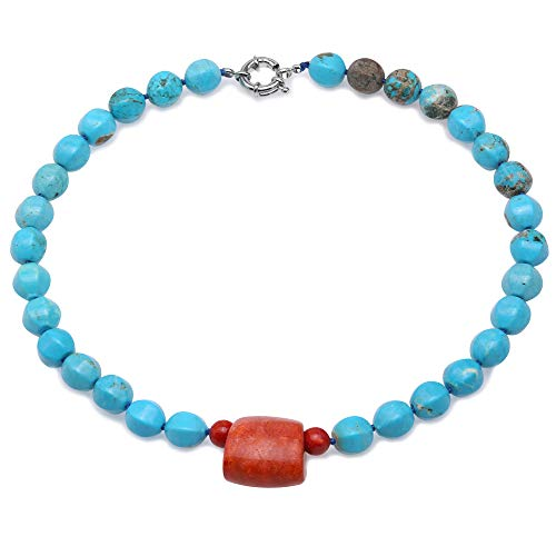 JYX Turquoise Necklace 11.5×13.5mm Blue Irregular Turquoise dotted a 22×27mm Coral Pendant Single-strand Necklace AAA Handmade Gemstone Beads Necklace ()