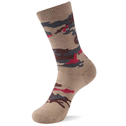 RTZAT Outdoor Hiking Camouflage Cotton Crew Socks for Men and Women, 1/2/3 Pairs