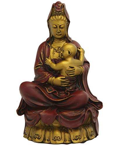 - Kuan-Yin with Baby Statue, Gold and Red