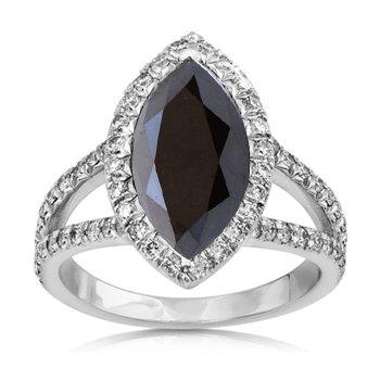 3 84ct Black Diamond Marquise Engagement Ring 14k Gold Amazon Co Uk