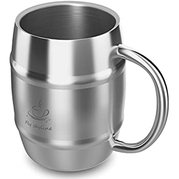 amazon com stainless steel coffee mugs with spill proof lids set