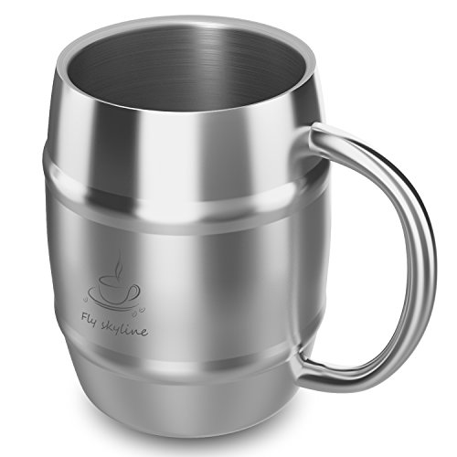 Coffee Mug Double Wall Stainless Steel Insulated Coffee & Beer Barrel Shape Mugs