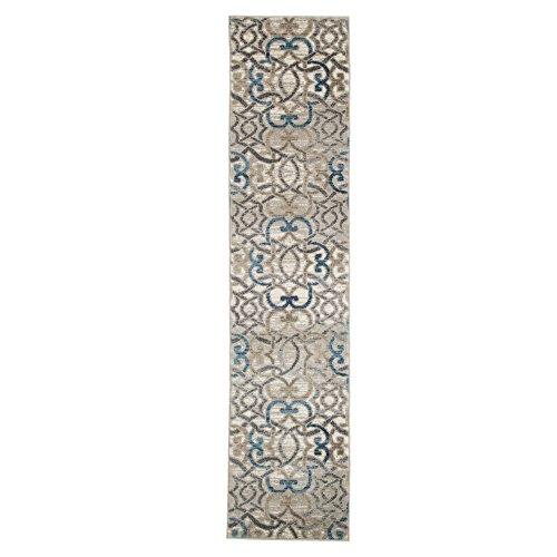 Lavish Home Vintage Interlocking Brocade Rug - Ivory Blue - 1'8