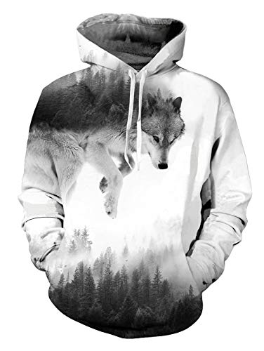 (Belovecol Unisex Pullover Hoodies for College University Funny Wolf Pattern Hoody Sweatshirts Fleece Loog Sleeve X-Large)