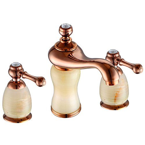Lalaky Taps Faucet Kitchen Mixer Sink Waterfall Bathroom Mixer Basin Mixer Tap for Kitchen Bathroom and Washroom Split Plated pink gold Copper Double Handle Three-Hole Split