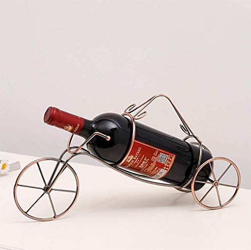 JUSTINZ Wine Rack, 1 Bottle, European Creative Vintage Wrought Iron Tricycle Style, Free Tilt Standing Countertop, Portable Style Wine Rack Tabletop Wine Storage Holders Stands,39 X 11 X 20.5cm.