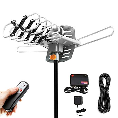 HDTV Antenna Amplified Digital Outdoor Antenna 150 Mile Range 360° Rotation Support 2 TVs for UHF/VHF Channels - for Full HD 1080P 4K