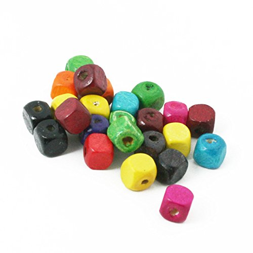 - 500Pcs 7mm Square Cube Wood Beads Mixed Color Fashon Spacer Beads for Jewelry Making