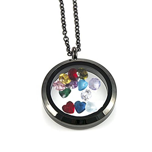 EVERLEAD Black Living Memory Floating Round Locket Pendant Necklace with 316L Stainless Steel Material