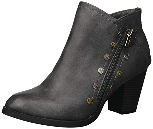 Rampage Edyn Womens Casual Block Heel Side Zipper Studded Ankle Bootie Boot, Dark Grey Nubuck, 9 M US
