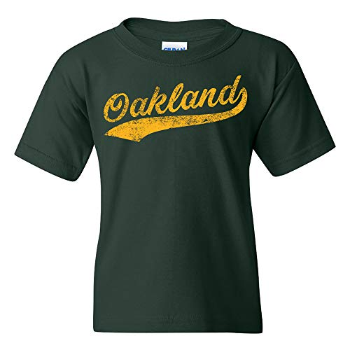 (UGP Campus Apparel Oakland Baseball Script - Hometown Pride, Pitcher Youth T Shirt - Medium - Forest)