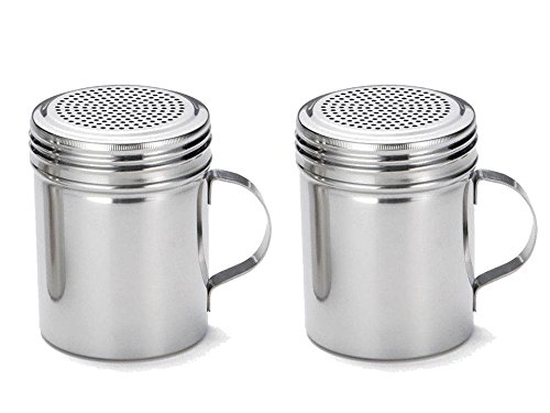 Great Credentials Stainless Steel Versatile Dredge Shaker, Salt, Sugar, Shakers 10 Oz. Each Set of 2 (With - Dredge Shaker