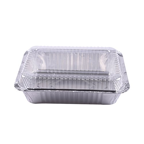 XIAFEI Disposable Durable Aluminum Rectangular Foil Pans, Take-Out Containers, Pack of 50 with PET Plastic Lids by XIAFEI (Image #3)