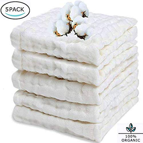 """BELIZ - 100% Organic Cotton Muslin Baby Burp Cloths 10"""" to 20"""" Large 5 in a Pack 9 Layers Extra Absorbent and Soft Unisex Cloth Diapers Baby Washcloths (White)"""