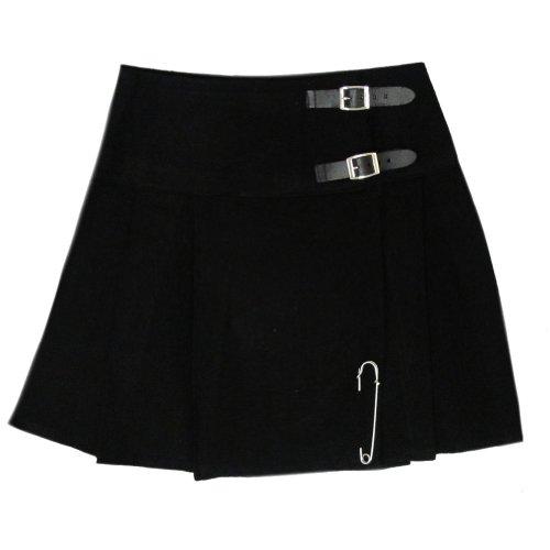 Tartanista Womens 16.5 Inch Scottish Tartan Mini Kilt Skirt Plain Black 8 US