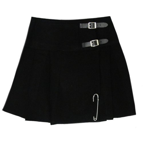 Tartanista Black 16.5 inch Mini Kilt/Minikilt Skirt - Size US 10 (Girls Kilt Outfits)