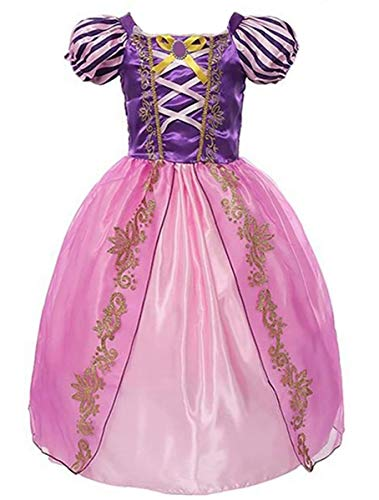 Girls Rapunzel Deluxe Princess Party Dress Costume (5-6, Style 7) ()
