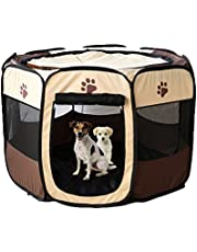 Gaorui Portable Foldable Pet Playpen Exercise Kennel Indoor Outdoor Cage Removable Mesh Shade Cover for Dogs Puppy Cats Kittens Rabbits