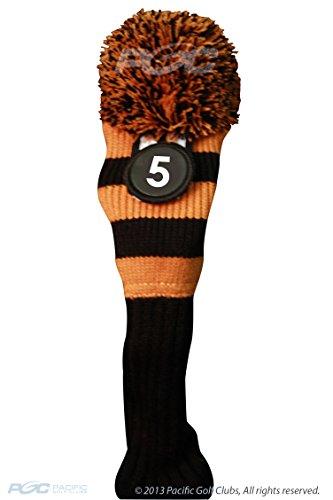 Majek #5 Fairway Metal Wood Black & Orange Golf Headcover Knit Pom Pom Retro Classic Vintage Head Cover