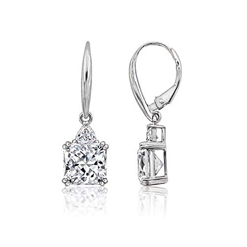 J'ADMIRE Simulated Diamonds Flanders Cut Earrings, Platinum Plated Sterling Silver