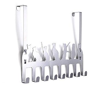 Wintek Colgador metálico de puerta; colgador decorativo para colgar abrigos o toallas, con 8 ganchos.: Amazon.es: Amazon.es