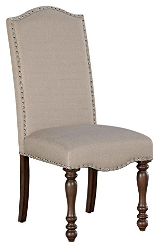 Ashley Furniture Signature Design - Baxenburg Dining Side Chair - Set of 2 - Nailhead Trim - Warm Brown Finish (American Furniture Signature Store)