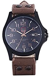 SOXY Men's Leather Strap Analog Quartz Stainless Steel Case Wrist Watch