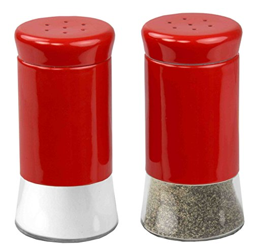 (Home Basics Essence Collection Salt and Pepper Shaker Set, Red)