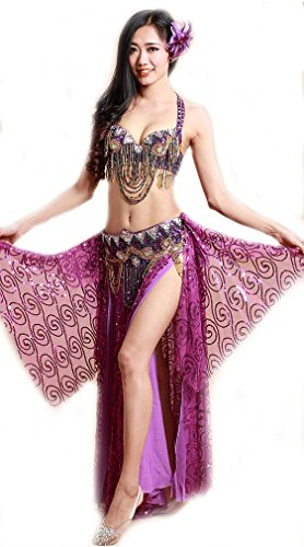 [OMYFAIRY Belly Dance Costume Set 2pcs Belly Dance Bra/Hip Scarf (36B, Purple)] (Belly Dance Costumes Bra)