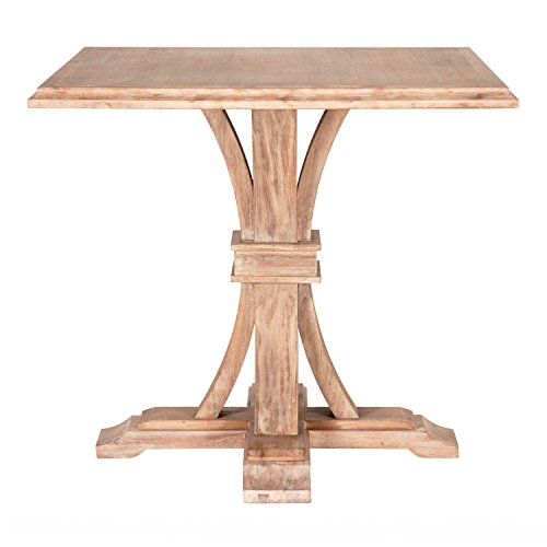 Benjara BM196444 Square Shape Wooden Counter Height Dining Table with Trestle Base, Brown ()