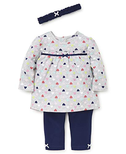 Little Me Baby Girl's Tunic Set Shirt, fun hearts multi/soft heather grey/medieval blue, 3 Months