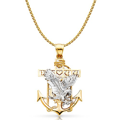 14K Yellow Gold Mariner Eagle Charm Pendant with 1.7mm Flat Open Wheat Chain Necklace - 16