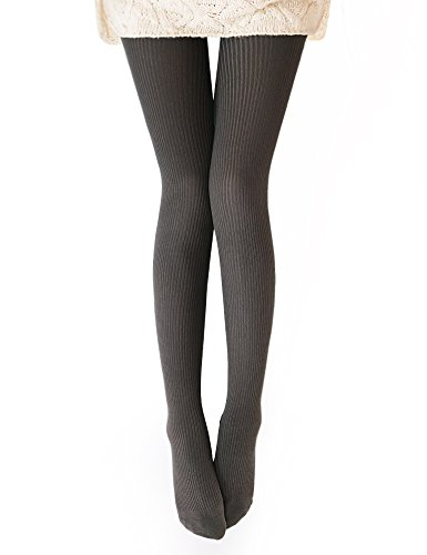 Vero Monte 1 Pair Womens Wool Blend Ribbed Tights - Opaque Knit Tights (Coffee)