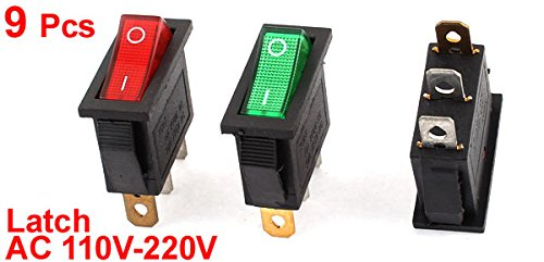 uxcell 9pcs AC 16A 250V Red Lamps ON-OFF 3-Pin SPST Latch Rocker Boat Switch UL Listed a14100700ux0848