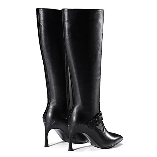 Knee 012 Black strap Boots VOCOSI Pointed High Heel Leather Thin Women's Toe High buckle Formal ZB Strange Dress Shoes aqE7R