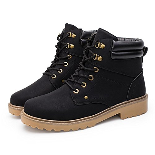 AMA(TM) Mens Winter Lace-up Motorcycle Boot Military Combat Boot Ankle Boots Black JrQM7yvMo