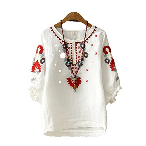 White Floral Embroidered Blouses for Women Loose Half Lantern Sleeve Shirt Women Cotton Linen ()