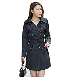 Henraly Autumn Coat Plus Size Xxxxxl Slim Lapel Double Breasted Long Section Trench Coat For Women C3062 Black Large
