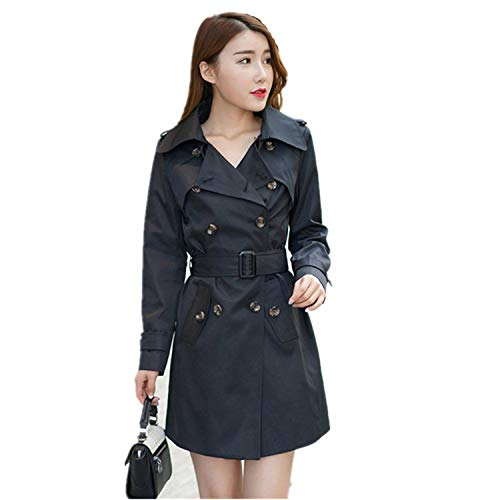 Autumn Coat Plus Size XXXXXL Slim Lapel Double-Breasted Long Section Trench Coat for Women C3062,Purple,X
