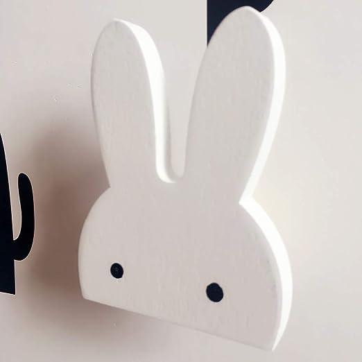 1 perchero de pared de madera con diseño de conejo, color ...