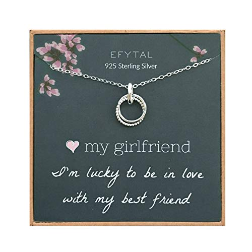EFYTAL Girlfriend Gifts, Girlfriend Birthday Gift Ideas For Her, Romantic Sterling Silver 925 Studded Ring Interlocking Circles Necklace Jewelry for Women, Cute Anniversary / Valentines Day Present (Valentines Her Day For Present)