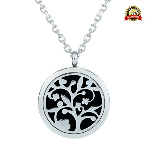 VICO Aromatherapy Essential Oil Diffuser Necklace Tree of Life Pendant Locket of 31 inch Long Sterling Silver Stainless Steel Chain, Inspiration Gift for Women with Black Refill Pad (What Terracotta Is Clay)