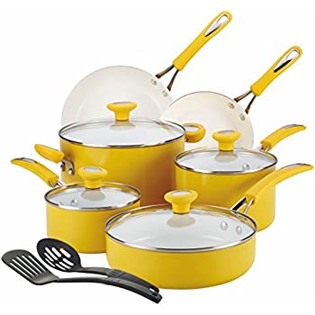 SilverStone Ceramic Nonstick Aluminum Cookware Set, 12-Piece, Mango Yellow, CXi Collection