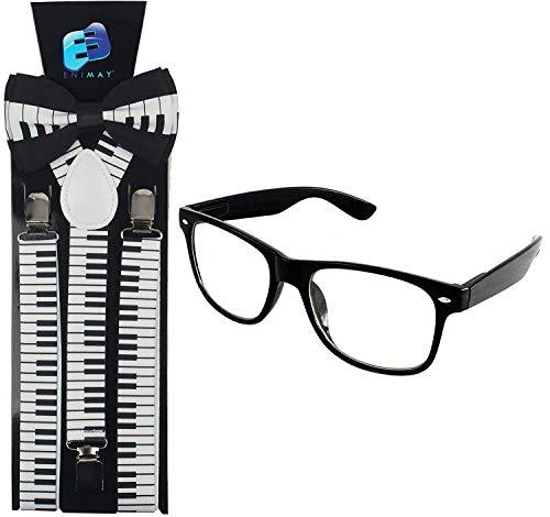 Enimay Suspender Bowtie Nerd Clear Glasses Nerd Costume