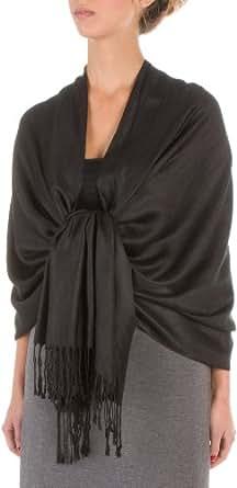 "Sakkas 78"" X 28"" Rayon from Bamboo Soft Solid Pashmina Feel Shawl / Wrap / Stole - Black"