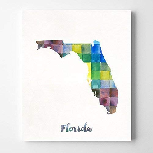 Amazon Com Florida Watercolor Map Poster Wall Art Print Home Decor
