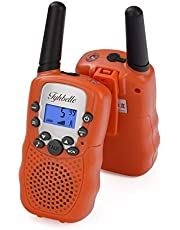 Tyhbelle T388 Walkie Talkie Set, Kinder 2 x Funkgeräte PMR446 lizenzfrei 8 Kanäle Funkgerät mit LCD-Display und Lampe VOX-Funktion Walky Talky Ideal für Geschenk (2er-Orange)