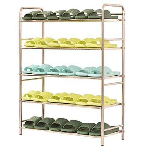 Rwkdjgfhi Stainless Steel Multi-Layer Shoe Rack Simple Footwear (Color: Four Grid, Green: Length 30cm) (Color : Five Grid, Size : Length 66cm)